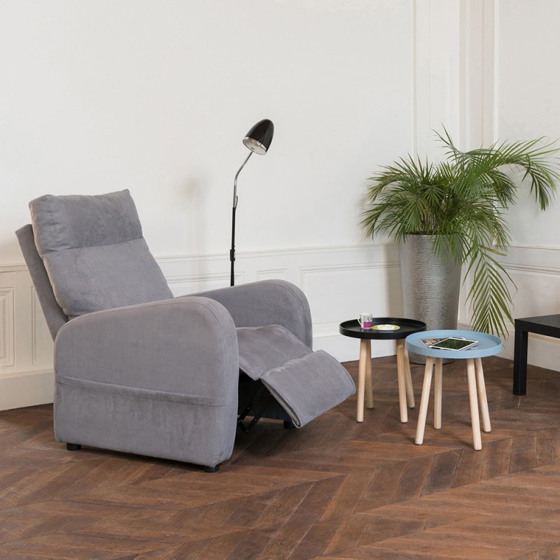 fauteuil relaxation manuel fidj fauteuil relax tissus microfibre cuir. Black Bedroom Furniture Sets. Home Design Ideas