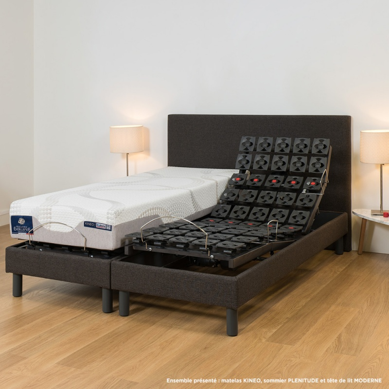 lit lectrique plots 4 moteurs plenitude tapissier et matelas visco kineo. Black Bedroom Furniture Sets. Home Design Ideas