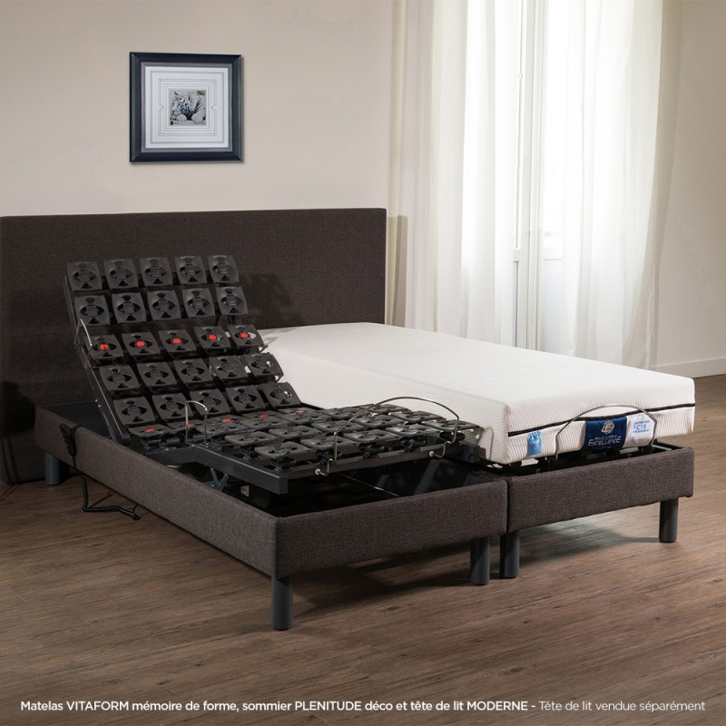 lit lectrique plots tapissierlenitude avec matelas visco vitaform. Black Bedroom Furniture Sets. Home Design Ideas