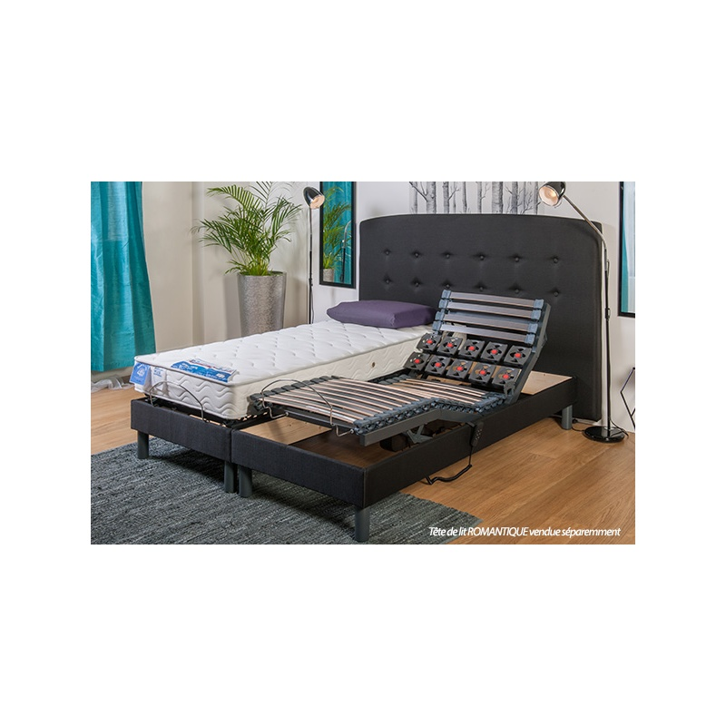 ensemble lit lectrique lattes et plots sensation et matelas m moire de forme venus. Black Bedroom Furniture Sets. Home Design Ideas