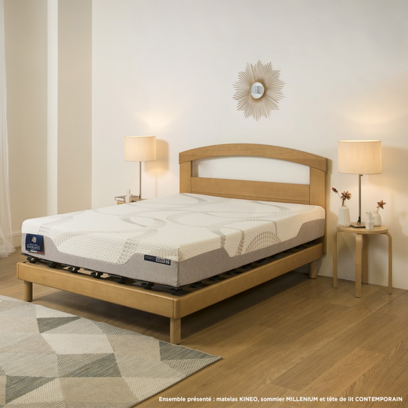 ensemble literie matelas visco lastique kineo et sommier plot millenium. Black Bedroom Furniture Sets. Home Design Ideas