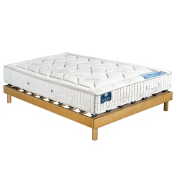 Matelas 100% latex naturel CARESSE + Sommier massif à plots MILLENIUM