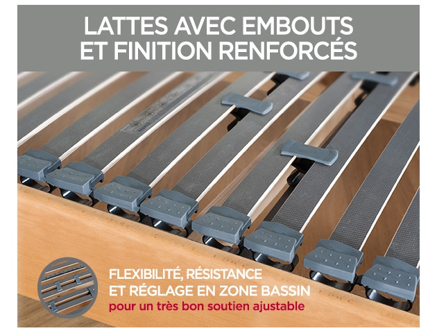 Ensemble literie ressorts et latex naturel OSMOSE + FLEXALATT massif
